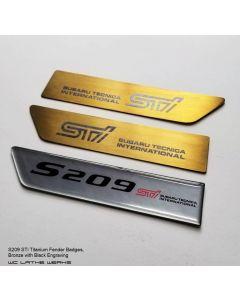 Subaru Titanium Fender Badge: S209